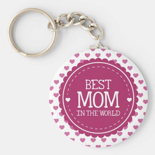 La mejor mamá en los corazones y el círculo del ro llavero