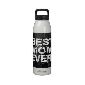 La mejor mamá nunca Grunge negro blanco Botellas De Agua Reutilizables