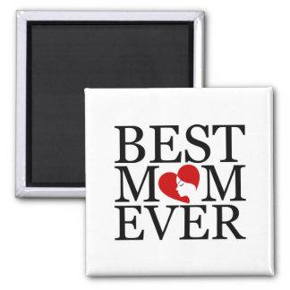 La mejor mamá nunca imán cuadrado