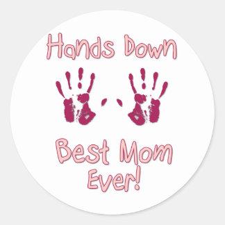La mejor mamá nunca etiqueta redonda