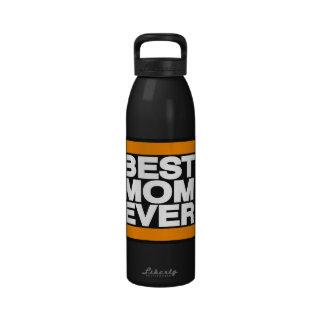 La mejor mamá siempre anaranjada botellas de agua reutilizables