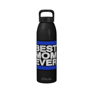 La mejor mamá siempre azul botella de agua