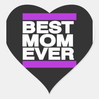 La mejor mamá siempre púrpura pegatinas de corazon