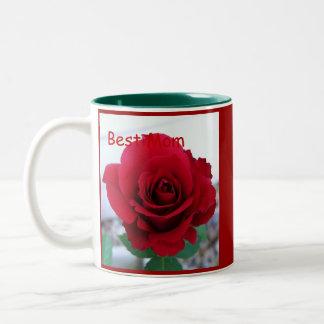 La mejor mamá, taza del rosa rojo del día de madre