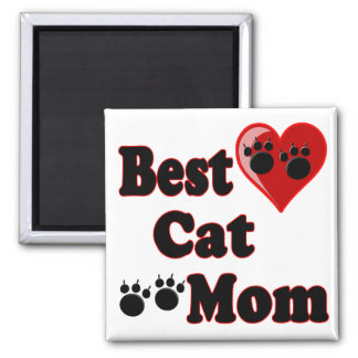 La mejor mercancía de la mamá del gato para la mad imán cuadrado