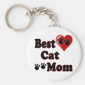 La mejor mercancía de la mamá del gato para la mad llavero redondo tipo pin