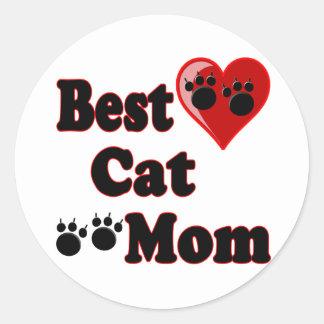 La mejor mercancía de la mamá del gato para la pegatina redonda