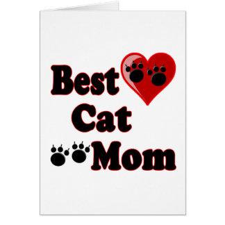 La mejor mercancía de la mamá del gato para la tarjeta de felicitación