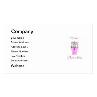 La mejor momia del mundo (flores rosadas) plantillas de tarjeta de negocio