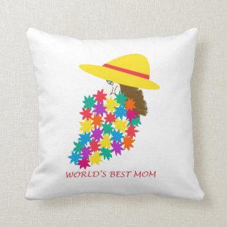 La mejor mujer de la mamá del mundo con la almohad cojín