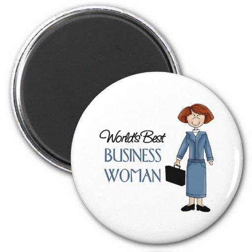 La mejor mujer de negocios de los mundos imán redondo 5 cm