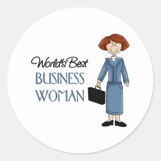 La mejor mujer de negocios de los mundos pegatina redonda