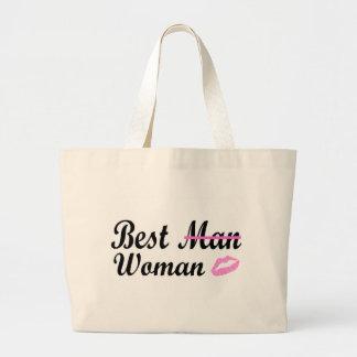 La mejor mujer (labios) bolsa tela grande