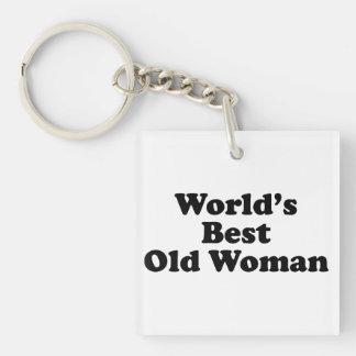La mejor mujer mayor del mundo llavero cuadrado acrílico a una cara
