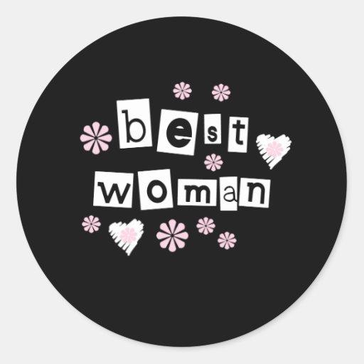 La mejor mujer pegatina redonda