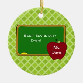 La mejor secretaria Christmas Ornament de la Adorno Navideño Redondo De Cerámica