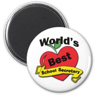 La mejor secretaria de la escuela del mundo imán redondo 5 cm