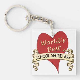 La mejor secretaria de la escuela del mundo llavero cuadrado acrílico a una cara
