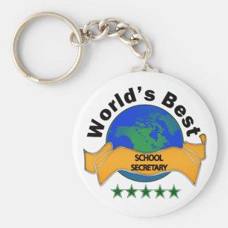 La mejor secretaria de la escuela del mundo llavero redondo tipo pin