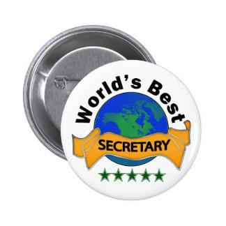 La mejor secretaria del mundo pin redondo de 2 pulgadas