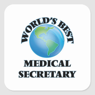 La mejor secretaria médica del mundo calcomania cuadradas
