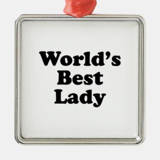 La mejor señora del mundo ornamento de navidad