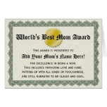 La mejor tarjeta del certificado del premio de la
