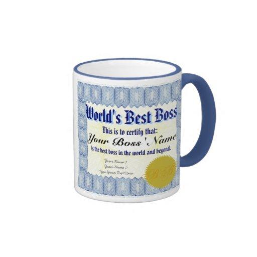 La mejor taza del certificado de Boss del mundo