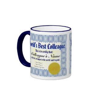 La mejor taza del certificado del colega del mundo