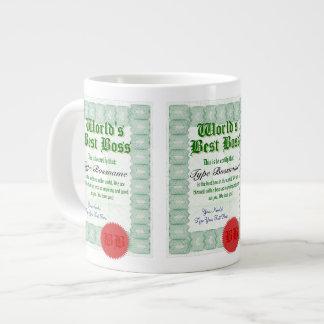 La mejor taza del jumbo del certificado del premio taza grande