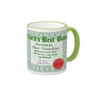 La mejor taza del premio de Boss Certicate del mun