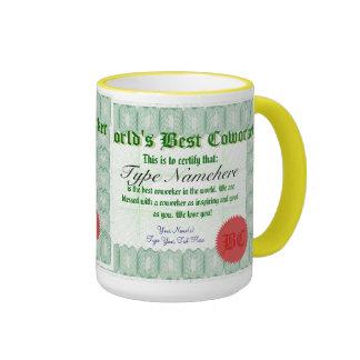 La mejor taza del premio del certificado del