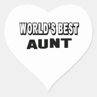 La mejor tía del mundo pegatina en forma de corazón