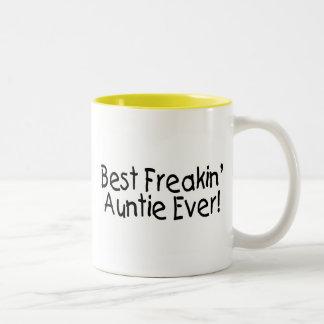 La mejor tía Ever 2 de Freakin Taza De Café De Dos Colores