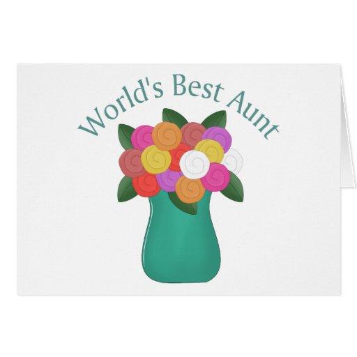 La mejor tía Floral Vase Tees, regalos del mundo Felicitaciones