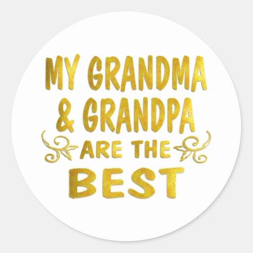 La mejores abuela y abuelo pegatina redonda