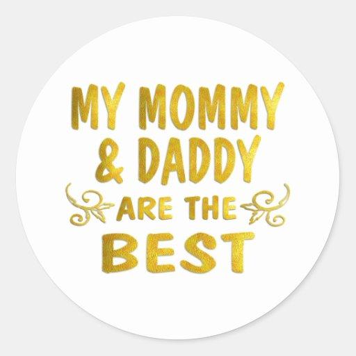 La mejores mamá y papá etiquetas redondas
