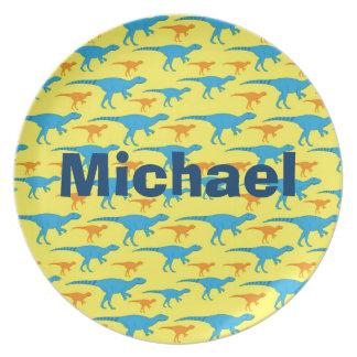 La melamina personalizada de los dinosaurios embro plato para fiesta