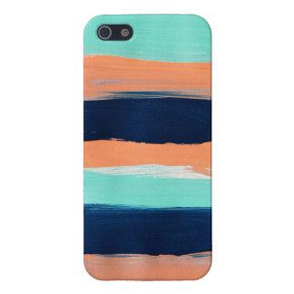 La menta abstracta, marina de guerra, coral raya l iPhone 5 carcasa