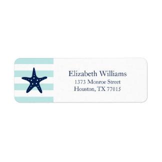 La menta azul blanca raya estrellas de mar etiquetas de remite
