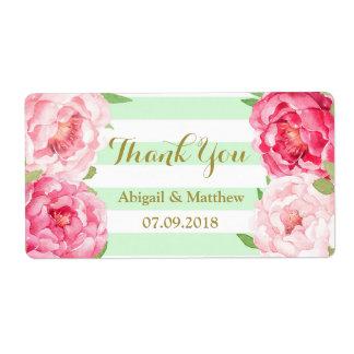 La menta floral de la acuarela rosada raya etiquetas de envío