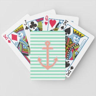 La menta raya el ancla del melocotón náutica baraja cartas de poker