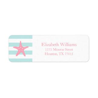 La menta rosada blanca raya estrellas de mar etiqueta de remite