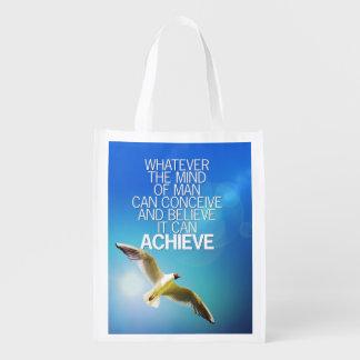 La mente puede alcanzar cita de motivación de la bolsa reutilizable
