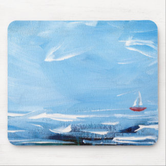 La Mer - Mouse Pad with Blue Sea and Red Sailboat