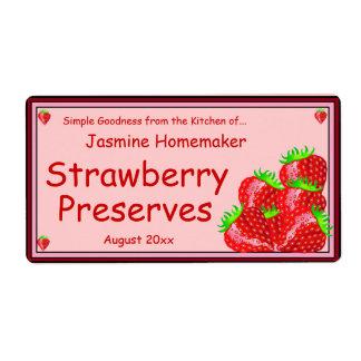 La mermelada de fresa o los cotos se dirige el etiqueta de envío