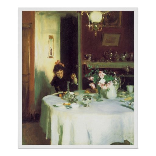 La mesa de desayuno, John Singer Sargent 1884 Posters