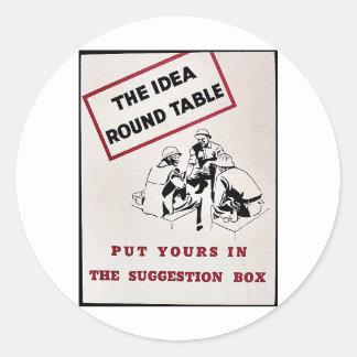 La mesa redonda de la idea, puso el suyo en la pegatina redonda