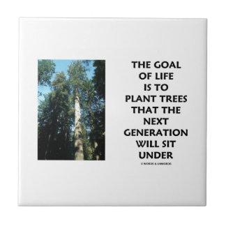La meta de la vida es plantar árboles que la gener azulejo cuadrado pequeño