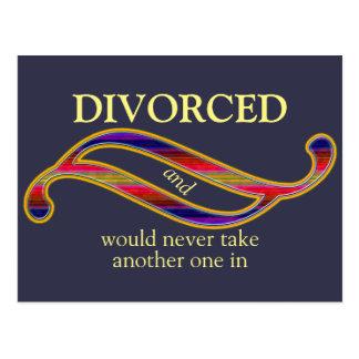 La mezcla divorciada divertida colorea el postales